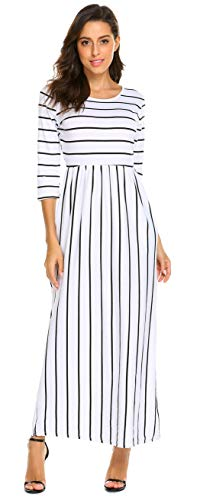 SimpleFun Womens Fall Casual Long Sleeve Dress Striped Loose Long Maxi Dress with Pockets(L, White ()