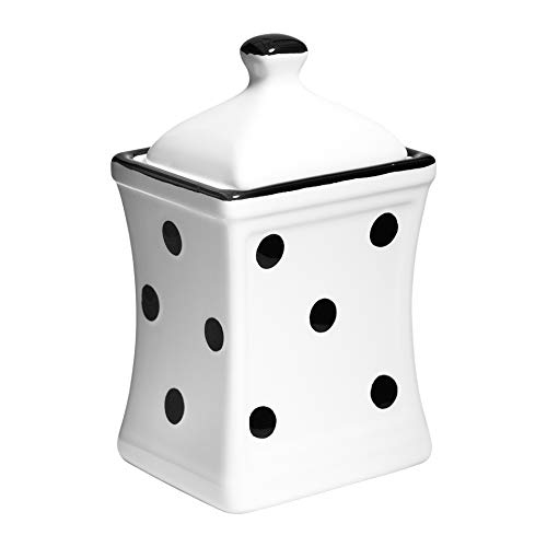 (City to Cottage Handmade White and Black Polka Dot Small 5.3oz/150ml Ceramic Kitchen Herb, Spice, Storage Jar with Lid, Pottery Canister, Housewarming Gift)