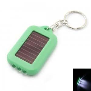 3 LED Mini Solar Power Flashlight Torch Keychain Green