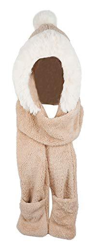 (Bellady Winter Warm Women Hoodie Gloves Pocket Earflap Hat Long Scarf Shawl,Beige)
