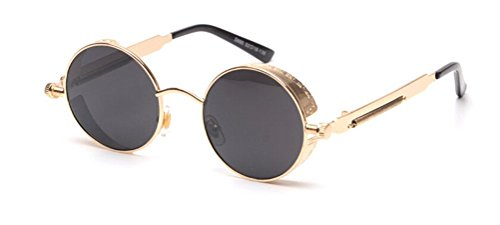 GAMT Retro Gothic STEAMPUNK Round Sunglasses Metal Frame Mirrored Circle Lens Gold Frame - Best Face Round Sunglasses For Shape