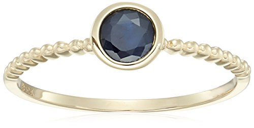 10k Yellow Gold Genuine Blue Sapphire Solitaire Beaded Shank Stackable Ring, Size 7