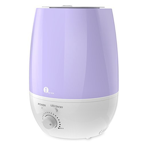 1byone 6L/1.59gal Humidifier Ultrasonic Cool Mist for Home, Bedroom, Office - Whisper Quiet Humidifying Unit with 7 Colors LED, Aromatherapy Essential Oil Aroma Diffuser, Purple