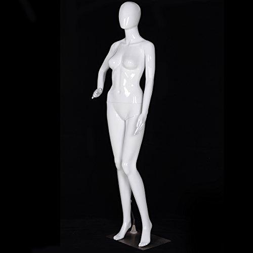 Giantex Female Mannequin Stand Dress Form Full Body Plastic Display Head Turns Dress Form (White)