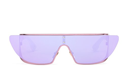 GAMT Fashion Cool Flat Top Sunglasses One-piece Polarized Mirrored Lens for Womens - Sunglasses Rihanna
