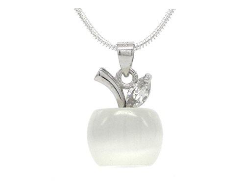 véritable Argent Sterling 925Apple Collier fait main blanc pierre de lune Apple Noir avec boîte à bijoux