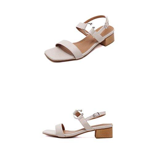 SHEO sandalias de tacón alto Áspero con sandalias de ante con un bajo con zapatos de mujer Albaricoque