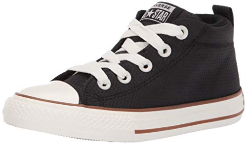 Converse Boys Kids' Chuck Taylor All Star Street Pinstripe Mid Top Sneaker, Black/Gum/Egret 3 M US Little ()
