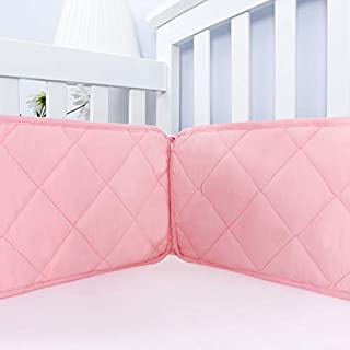 "Biloban Baby Crib Bumper Pads for Standard Size Crib(52""x28""), Durable & Breathable Crib Bumper Pads for Girls,Safe Toddler Bed Bumper for Crib Pink"