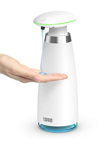 TOPPIN Automatic Soap Dispenser - Touchless Hand Liquid Soap Dispenser IPX4 Waterproof Adjustable Volume Hand Free Sanitizer with IR Sensor for Bathroom Kitchen Office Battery Operated 11.8oz/350ml