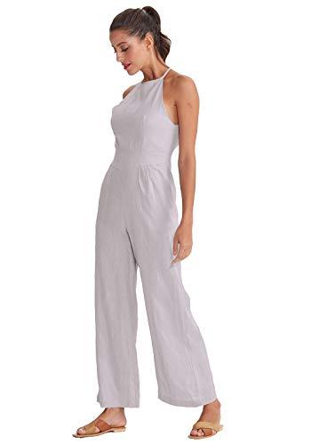 Womens Linen Wide Leg Jumpsuit Backless Sleeveless Romper Summer Casual Long Pants Suit Set (XX-Large, Grey Purple) ()