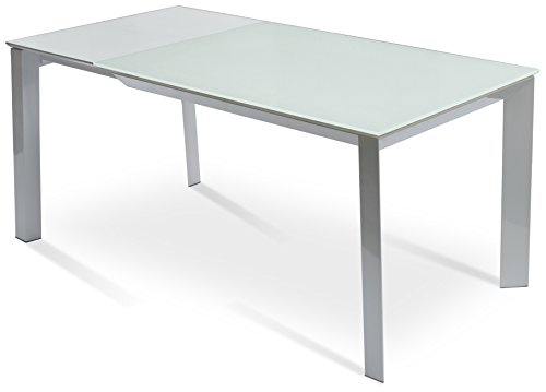 Soho Concept WPC-FG Milano Extendable Table with with White Powder Coating Base, Frosted Glass,