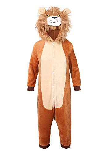 youlsun Kids Animal Halloween Costume, Deluxe Kids Onesie Pajamas for Boys&Girls (95, Lion)