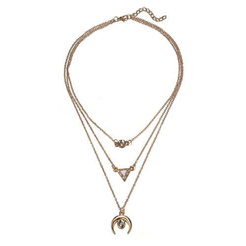 Topgee Choker Necklace for Women Long Star Tassel Pendant Chain Necklaces Fashion Jewelry Simple Round Diamond Necklace Multi-layer Alloy Chain Clavicle Chain