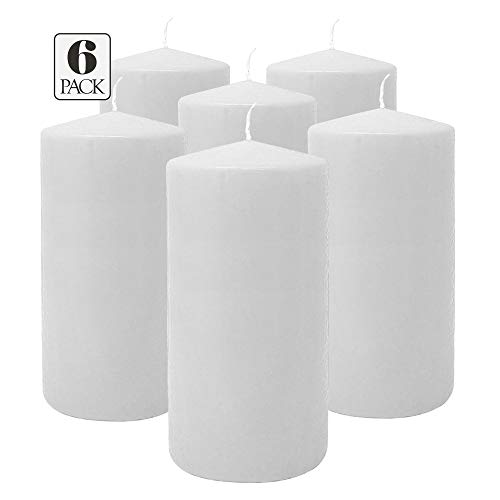 Hyoola White Pillar Candles 3x6 Inch - Unscented Pillar Candles - 6-Pack - European Made (The Three Pillars Of The European Union)