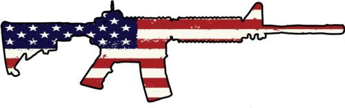 American Flag AR-15 Vinyl Decal - Ar-15 Bumper Sticker - Great Gun 2nd Amendment ()