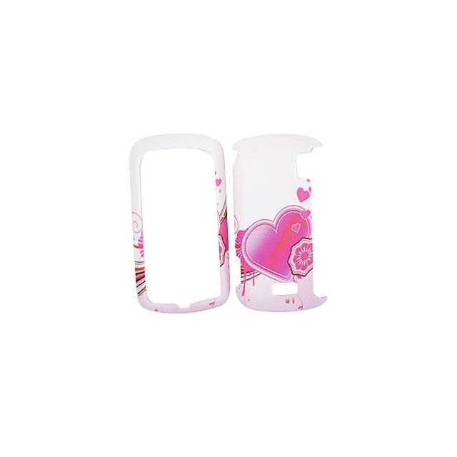 LG GENESIS VX760 Pink Heart on White HARD PROTECTOR COVER CASE / SNAP ON PERFECT FIT CASE