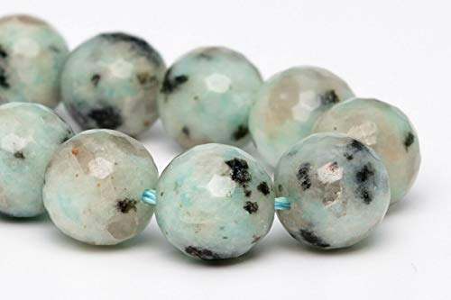 (10MM Natural Green Sesame Jasper Beads A Micro Faceted Round Beads 7.5