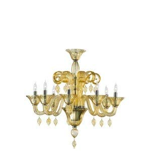 Amber Murano Glass Crystal - Cyan Lighting 6493-8-14 Treviso - Eight Light Chandelier, Chrome Finish with Amber Murano Glass with Amber Murano Crystal