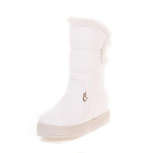 AgooLar Damen Rein Rund Zehe Ziehen auf Rund Zehe Ziehen auf Stiefel, Weiß, 34
