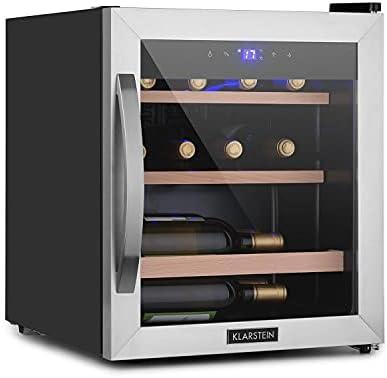 Klarstein Vinamour Uno - Nevera para vinos, Capacidad 46 L, Hasta 12 botellas, Temperaturas 4 a 18 °C, Refrigeración por compresión, Panel control táctil, 2 estantes de madera, Iluminación LED, Negro