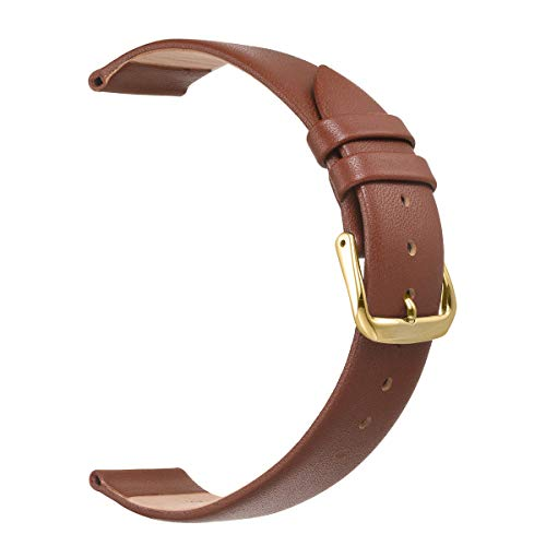 (18mm Leather Watch Band, Women Watch Straps in Light Brown Gold Buckle)
