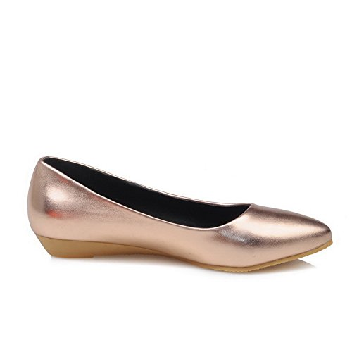 BalaMasa Ladies Pointed-Toe Low-Cut Uppers Pull-On Urethane Flats-Shoes Gold aimpP5b