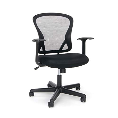OFM Essentials Collection Swivel Mesh Back Task Chair with Arms, Mid Back, in Black (ESS-3011)