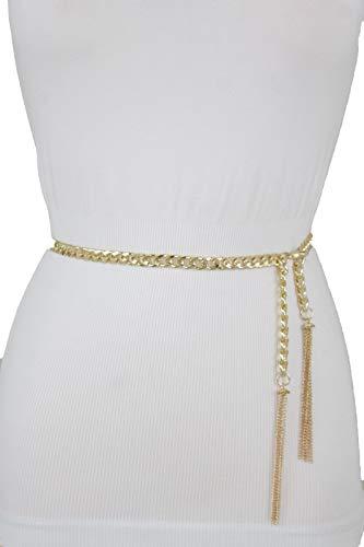 TFJ Women Fashion Belt Gold Metal Chain Links Hip High Waist Long Fringes M L ()