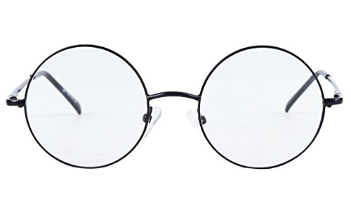 Bestum Retro Round Optical Spring Hinge Metal Glasses Frame Clear lens (Black, 46mm (medium - Harry Glasses Prescription Potter