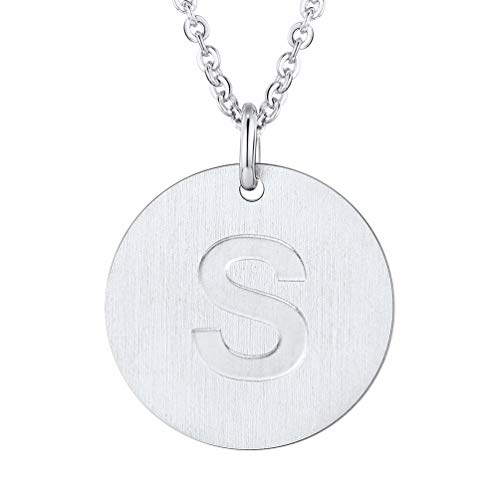 (PROSTEEL Initial Letter Necklaces Stainless Steel Monogram Alphabet S Minimalist Bridesmaid Personalized Jewelry Gift Men Women Coin Necklace)
