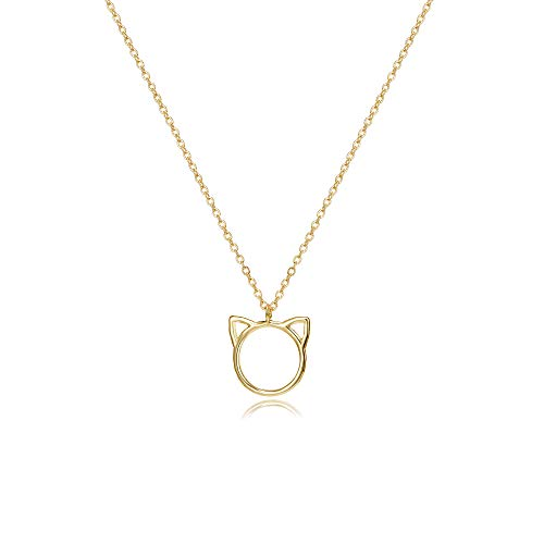 Citled Cat Pendant Necklace Women 14K Gold Plated Hand Made Dainty Women Necklace NCK-Cat