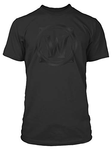Black Logo Blackout T-shirt - JINX World of Warcraft Men's Blackout Logo Gaming T-Shirt, Black, Medium