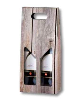 McDEKO Vino Caja Wood para Dos Botellas de Vino - 18 x 9 x ...