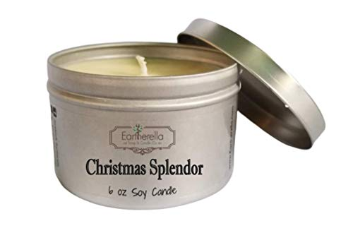 CHRISTMAS SPLENDOR Natural Soy Wax 6 oz. Tin Candle, long 40+ hour burn time