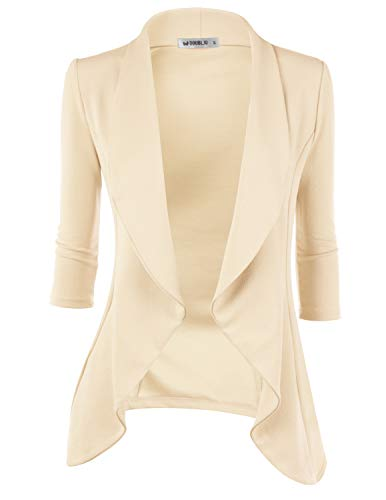 - Doublju Womens Lightweight Classic Draped Open Front Blazer with Plus Size Stone Small