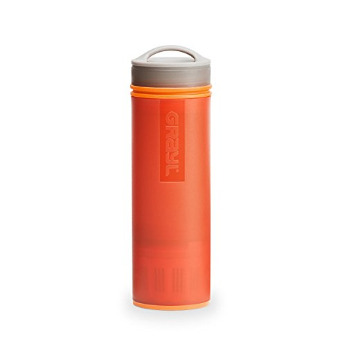 GRAYL Ultralight Water Purifier [+ FILTER] BOTTLE (Orange) (Water Purification Membrane)