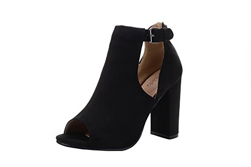 Shoes Toe Out Cut Peep (Mila Lady Crystal Women's Stacked Chunky Heel Platform Cutout Side Straps Ankle Bootie, Black 7.5)