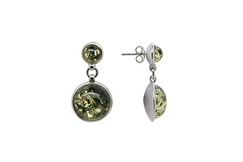 (925 Sterling Silver Round Stud Dangle Earrings with Genuine Natural Baltic Green Amber.)