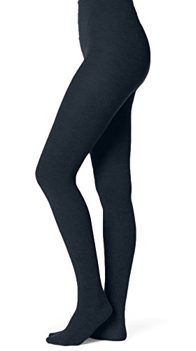 EMEM Apparel Women's Ladies Junior's Flat Knit Bamboo Cotton Sweater Winter Opaque Footed Tights Hosiery Stockings Navy ()