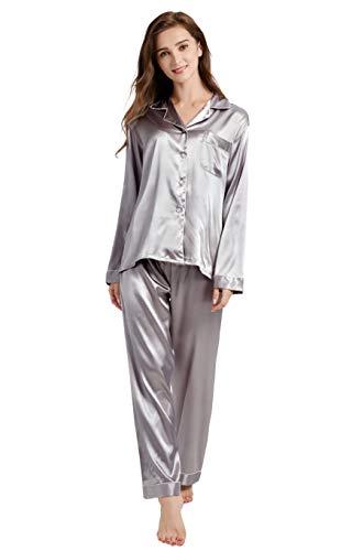 (Tony & Candice Women's Classic Satin Pajama Set Sleepwear Loungewear (Gray with White Piping, Small))