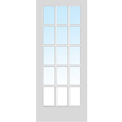 National Door Company ZZ364990 Primed MDF, 15 Lite True Divided Interior Door Slab, 36'x80', 1-3/8' Thick
