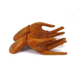 Hands Business Card Holder - Genuine Tropical Solid Wood Hand Business Card Holder