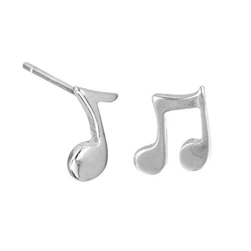 Trendy Music Lover's Post Stud Earrings Hip Hop Style 925 Silver Asymmetric Jewelry