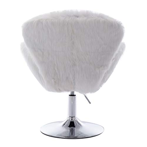 Faux Fur Swivel Makeup Stool, Modern White Swan Chair Long Hair Shaggy Dog Accent Chair for Living Room/Bedroom (Alabaster White) - 4