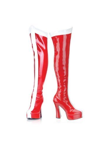Funtasma by Pleaser Women's Electra-2090 Boot,Red/White Stretch Patent,11 M US