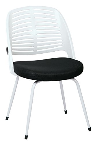 AVE SIX Tyler Ventilated Plastic Back and Black Padded Mesh Seat Visitor Chair, White Frame and (Back Visitors Chair)