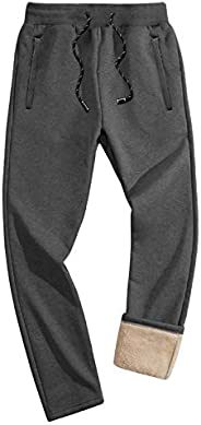 FASKUNOIE Men's Winter Fleece Pants Thermal Sherpa Lined Sweatpants Workout Jogger Pants with Poc