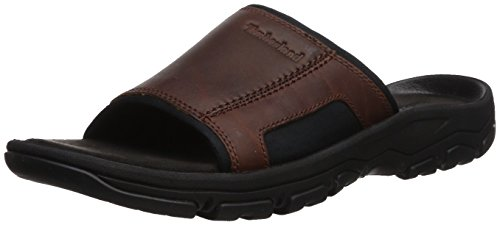 (Timberland Men's Roslindale Slide Sandal, Brown Full Grain, 12 Medium US)
