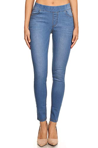 Women's Plus Size High Waisted Stretchy Pull-On Skinny Denim Jeans (1X-Large,Light Blue) from Jvini